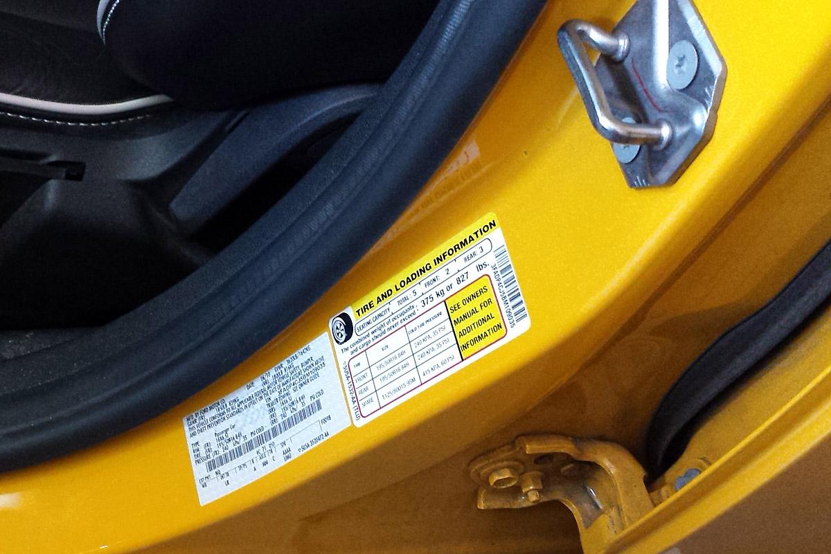 car door jamb. Look For Tire Pressure In Driver Door Jamb Car D