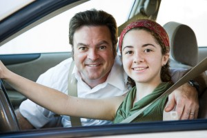 back to school teen Driving with Dad