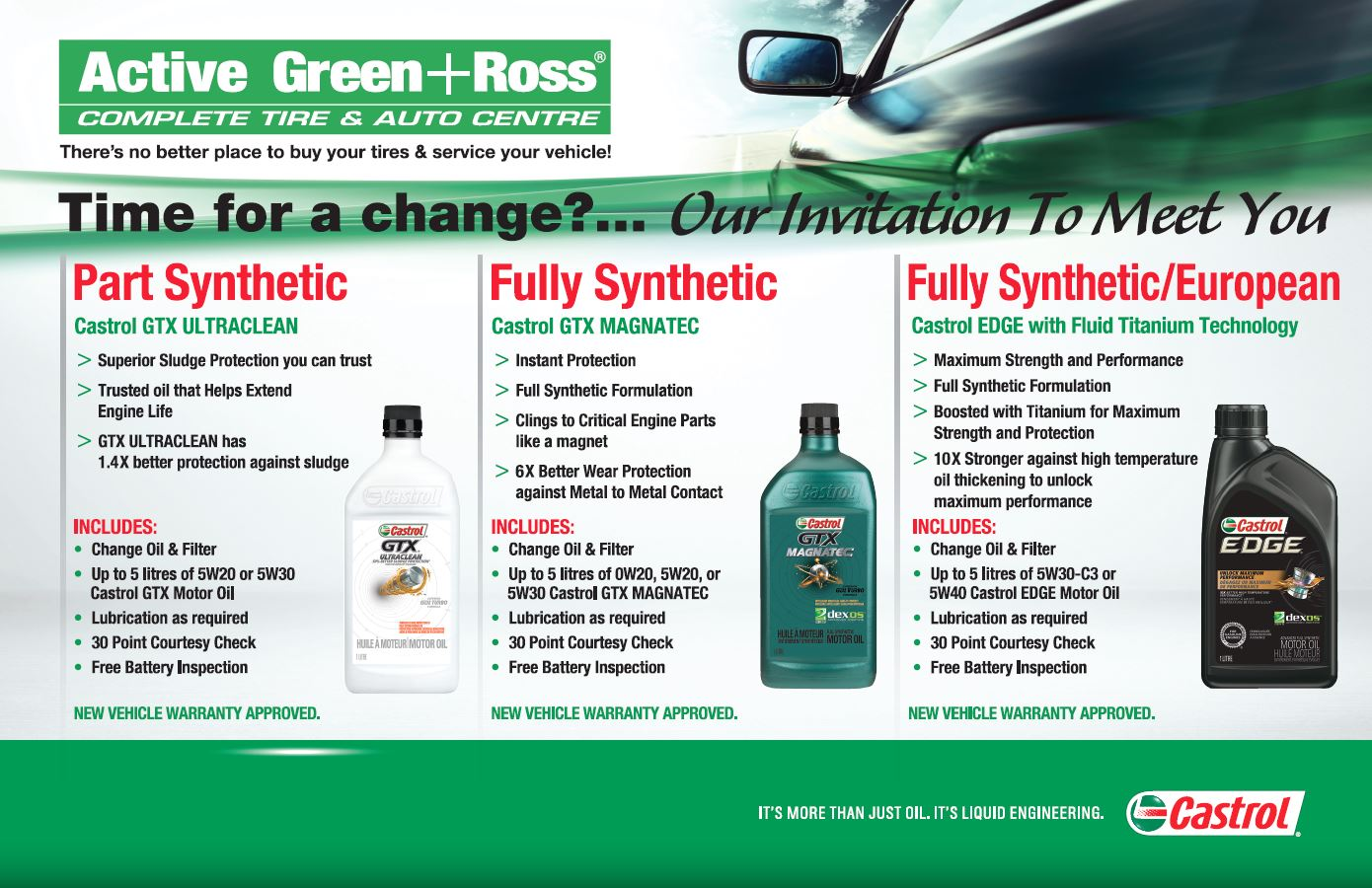 EcoPower & Castrol Oil Change - Active Green + Ross Tire & Auto Centre