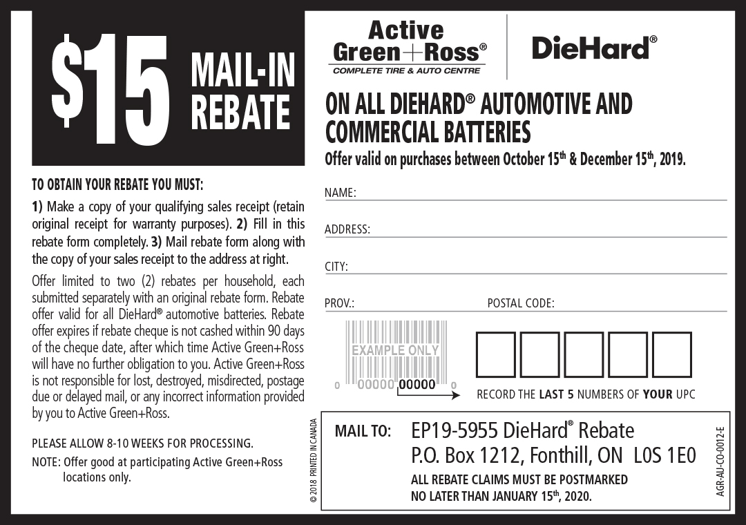 Diehard Battery 2019 Rebate Form