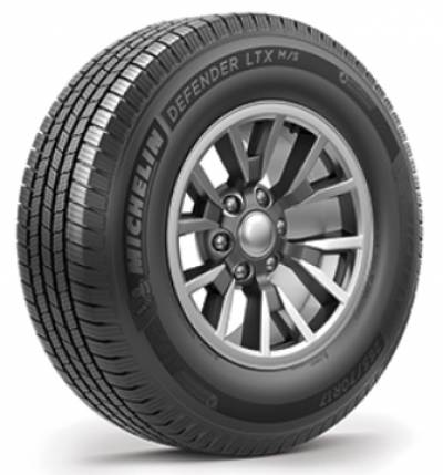 Image of a Michelin 115/112R LRE Defender LTX M/S BSW tire, which can be found at Active Green + Ross in Toronto, ON