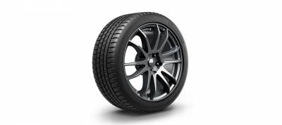 Image of a Michelin Pilot Sport A/S 3+ tire, which can be found at Active Green + Ross in Toronto, ON